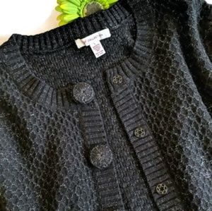 JM Collection Black Sweater w/Silver Threads #360